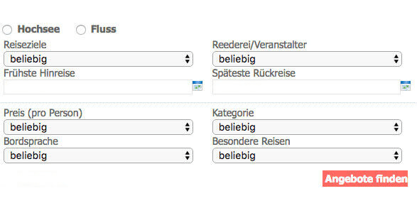 Kreuzfahrtberater Hamburg Buchungsmaske